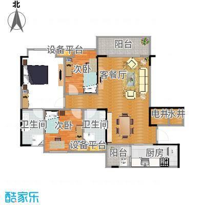 碧桂园J367户型3室1厅2卫1厨