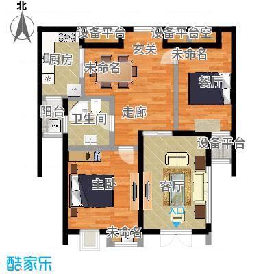融信新新家园81.00㎡C户型二室二厅一卫户型1室2厅1卫