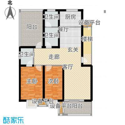 神奇庭院户型2室1厅3卫1厨