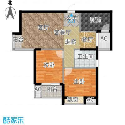 金福世家户型2室1厅1卫1厨