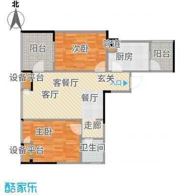 恋恋上层62.55㎡1、2栋标准层5号房户型
