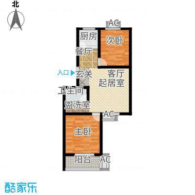 国际幸福城76.61㎡翠园B606主卧接大阳台方正户型