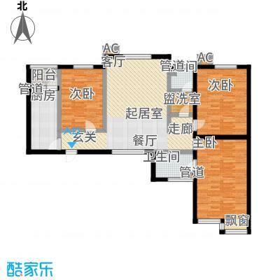 新天地书香华苑户型3室2卫1厨