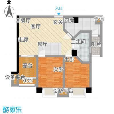 雅居乐花园户型2室1厅1卫1厨