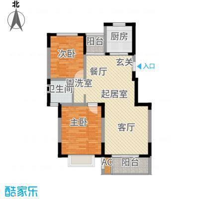 龙湖文馨苑户型2室1卫1厨