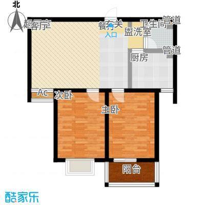 新天地书香华苑户型2室1卫1厨