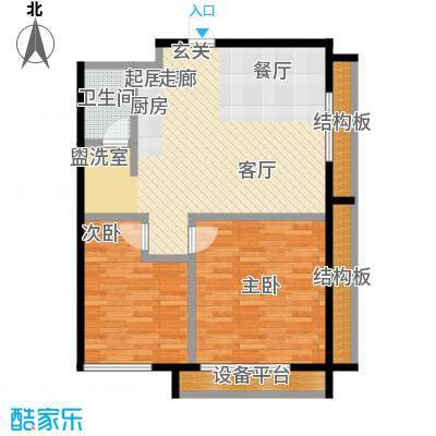 万达新天地82.18㎡精装公寓户型