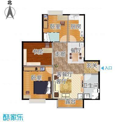 张云长_北京明发f广场102.04㎡B2户型1室1厅1卫1厨