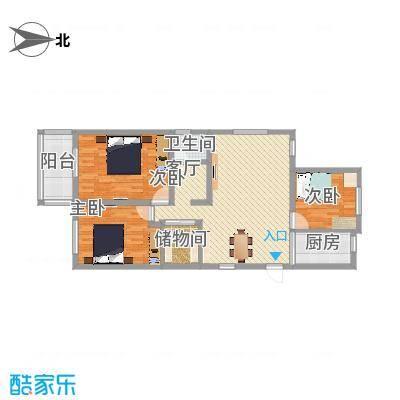 A户型3室2厅1卫1厨115平
