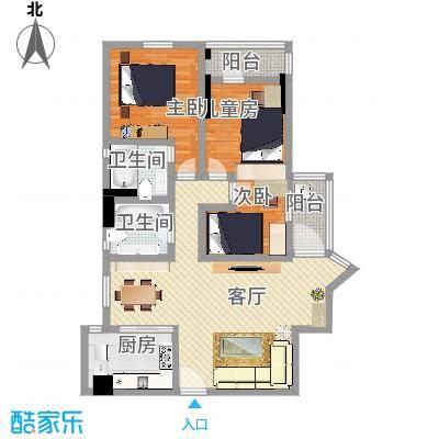 番禺珠江花园05户型图方案1