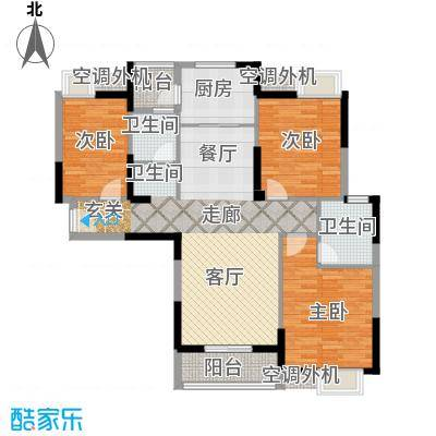 金地雄楚一号09户型3室1厅2卫1厨