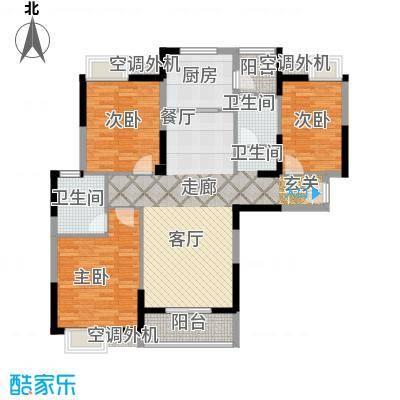 金地雄楚一号11户型3室1厅2卫1厨