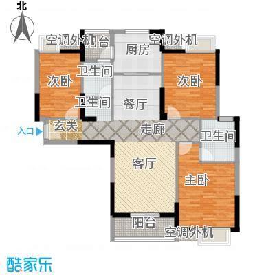 金地雄楚一号16户型3室1厅2卫1厨