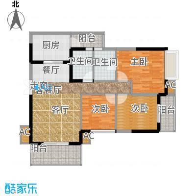 清风华园C1户型3室1厅2卫1厨