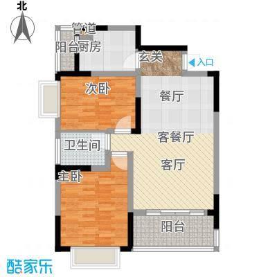 山水花都户型2室1厅1卫1厨