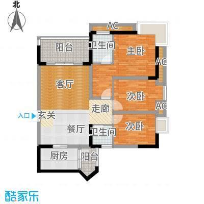 轻轨综合楼户型3室2卫1厨