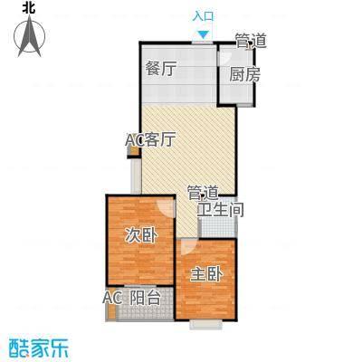 东方名邸户型2室1厅1卫1厨
