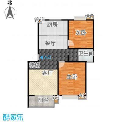 华侨绿洲户型2室1卫1厨