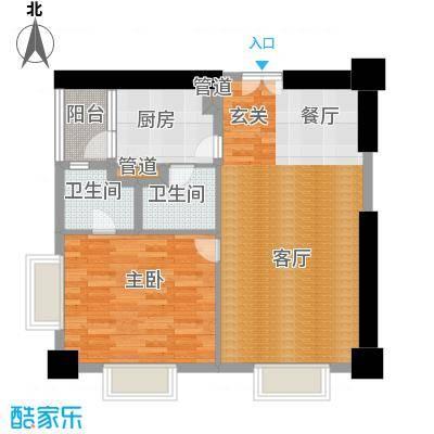 田园国际公寓103.00㎡大开间户型