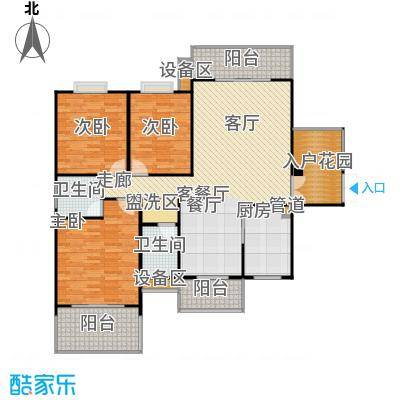 学府华庭138.00㎡三阳台一入户花园户型