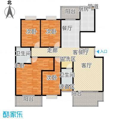 学府华庭138.00㎡三阳台户型