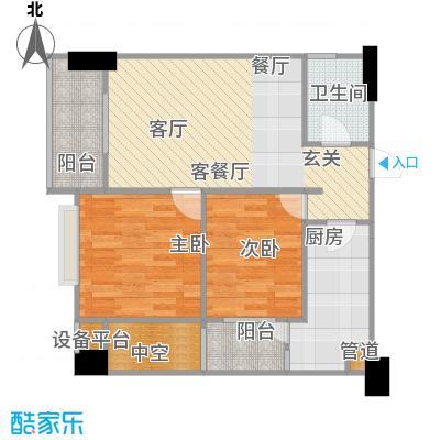 铂金时代户型2室1厅1卫1厨