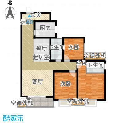 黄金嘉园139.65㎡3#E客厅、主卧、次卧朝南117米阳光开间户型