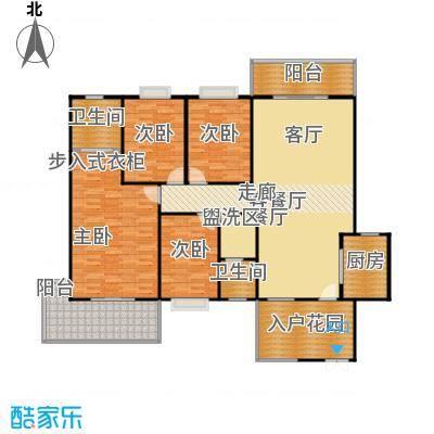 学府华庭158.00㎡三阳台一入户花园户型