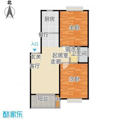 盛泉新城户型2室1卫1厨