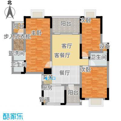 山水花都户型3室1厅2卫1厨