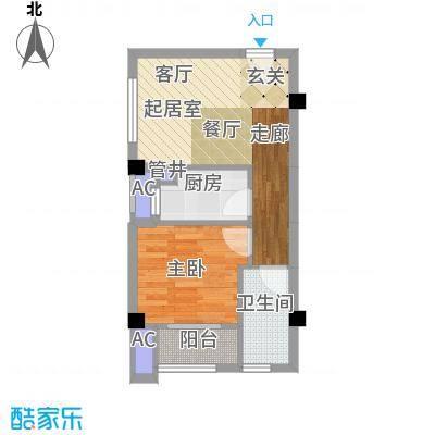 南枫时光户型1室1卫1厨