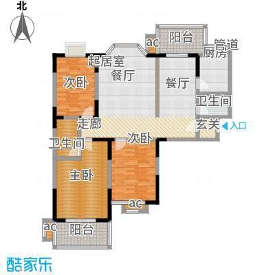 旺坤家园户型3室2卫1厨