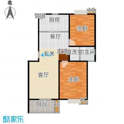 华侨绿洲户型2室1厅1卫1厨