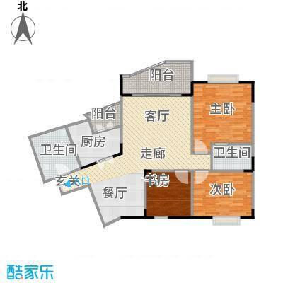 大川花园户型3室2卫1厨