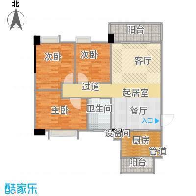 南峰时代广场户型3室1卫1厨