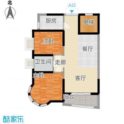 明发滨江新城户型2室1卫1厨