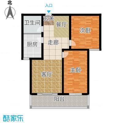 水木青城三期户型2室1厅1卫1厨