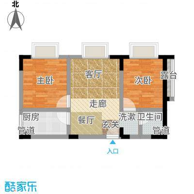 奇峰自由湾53.46㎡房型户型