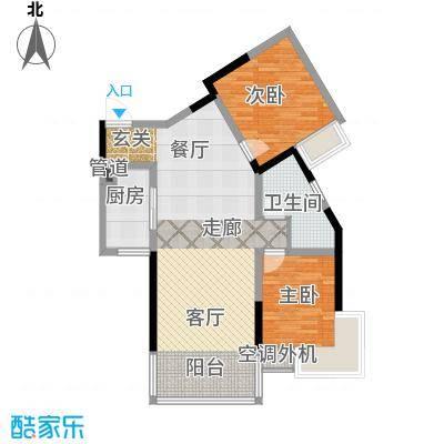 香港映象户型2室1厅1卫1厨