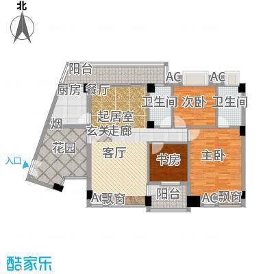 东方水岸122.00㎡6座01单元2-11层01单元+++入户花园+双阳台户型