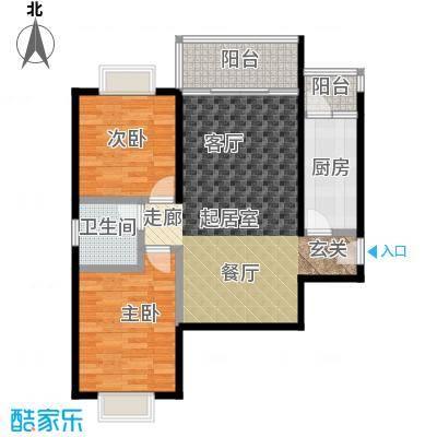 云湖景苑户型2室1卫1厨