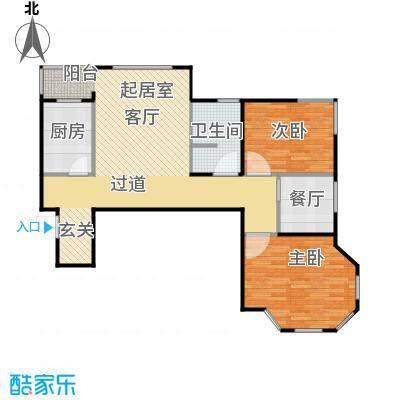 荷塘悦色户型2室1厅1卫1厨