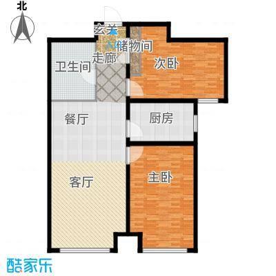 中阳信和水岸户型2室1厅1卫1厨