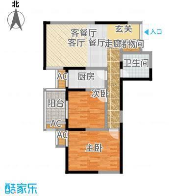 五龙汤花园85.28㎡A、C、D栋楼B户型