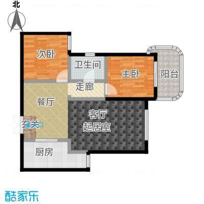 上都国际公寓户型2室1卫1厨