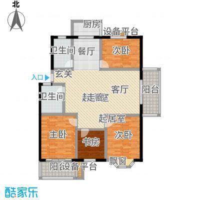 腾泰花苑户型3室2卫1厨