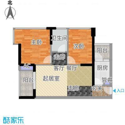 鸿基花园二期A栋偶数层01、02、09、10单元2室户型