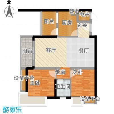 北城乐章建工・北城乐章68.37㎡一期单体楼标准层H户型