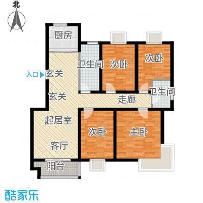 中南・麒麟锦城户型4室2卫1厨