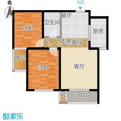 金域蓝湾户型2室1厅1卫1厨